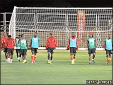 The Ghana players move goal post in training