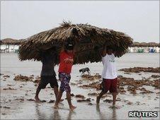 Hurricane precautions at Tampico in Mexico