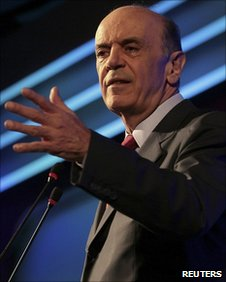 Jose Serra addressing a conference on 31 May