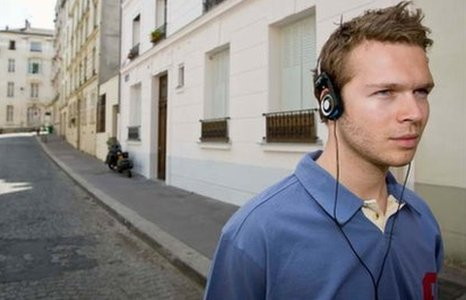 Man walking with headphones