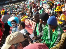 Learners from Nigeria at the Ellis Park stadium, Johannesburg.