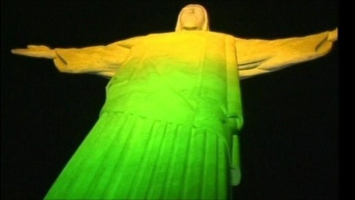 Christ the Redeemer statue bathed in Brazil colours