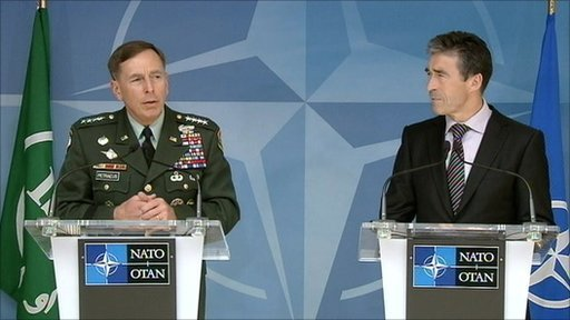 Gen Petraeus (left) and Nato chief Anders Fogh Rasmussen
