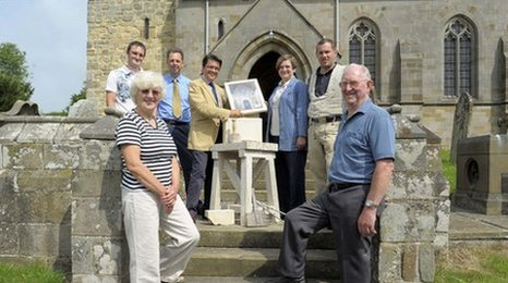 Parishioners at St Andrews Church, Kirby Grindalythe.