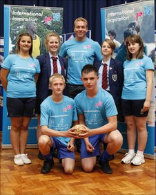 Students from Hartford High School with Sir Chris Hoy
