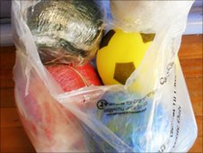 Homemade footballs at Glan-y-Mor School