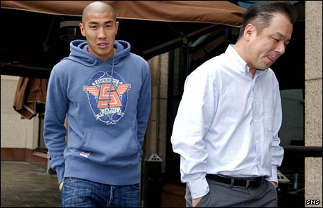 Cha Du-Ri with his agent in Glasgow