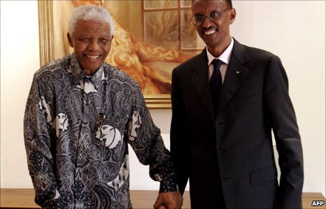 South Africa&#039;s former President Nelson Mandela (left) and Rwanda&#039;s leader Paul Kagame (right)