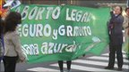 Argentine feminists stop traffic outside the Congress building in Buenos Aires