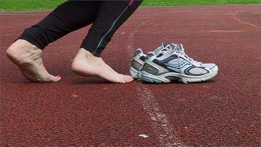 A barefoot runner