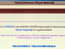 Turkish blocked internet page warning
