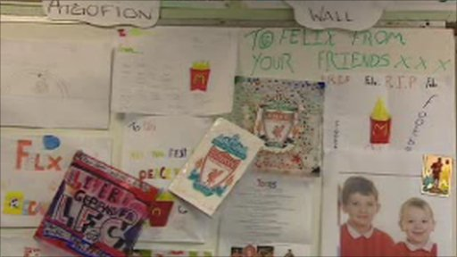 Tribute wall in school classroom