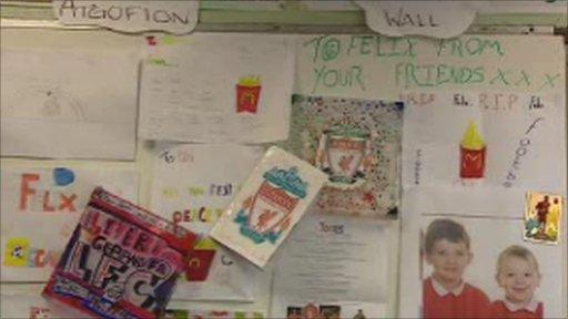 Tribute wall in school classroom