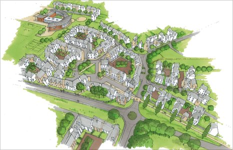 Artist's impression of the aerial view of the proposed village centre