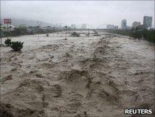 River raging though Monterrey