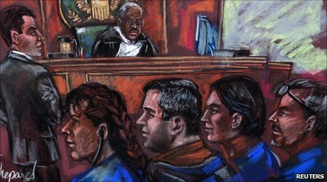 Russian spy suspects (L-R) Vicky Pelaez, Richard Murphy, Cynthia Murphy and Juan Lazaro