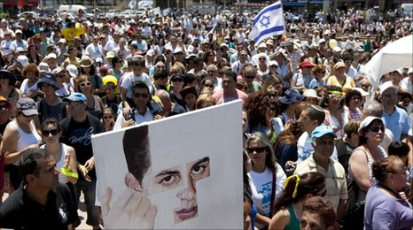 Supporters of Gilad Shalit rally in Netanya, 2 July