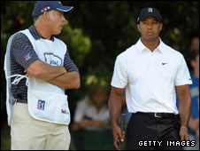 Tiger Woods with his caddy Steve Williams
