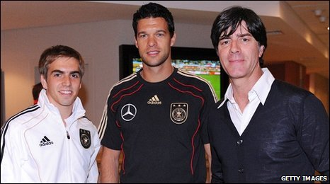 Philipp Lahm, Michael Ballack and Joachim Loew