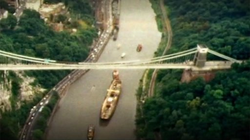 Ss Great Britain passing under Clifton Suspension Bridge in 1970