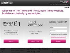 Times subscription screen