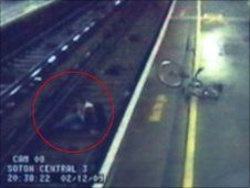 CCTV of Love on the track at Southampton