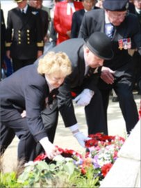 A wreath is laid at the Lancastria memorial, Saint Nazaire