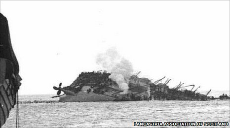 The Lancastria after being hit by German bombers off the coast of France in 1940