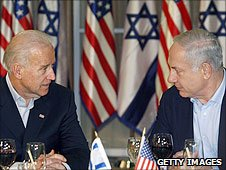 Relations were US Vice-President Joe Biden (L) and  Israeli Prime Minister Binyamin Netanyahu (R)