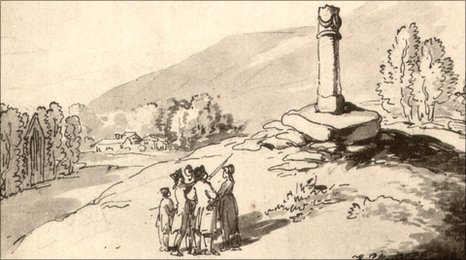 The earliest known picture of the pillar, dated 1797, courtesy Llangollen Museum