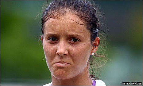 Britain's Laura Robson during her girls' singles semi-final defeat at Wimbledon