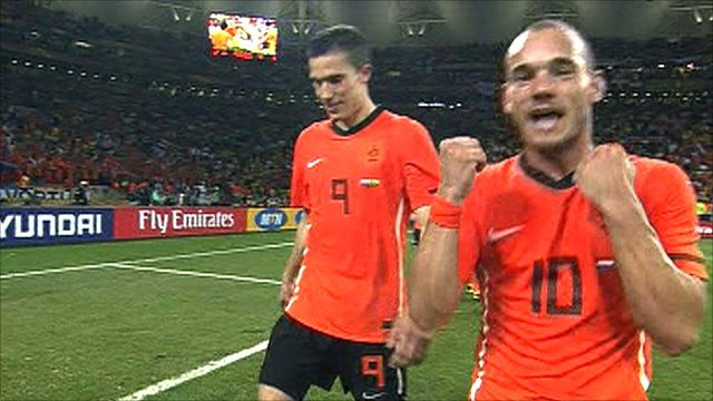 Netherlands celebrate beating Brazil