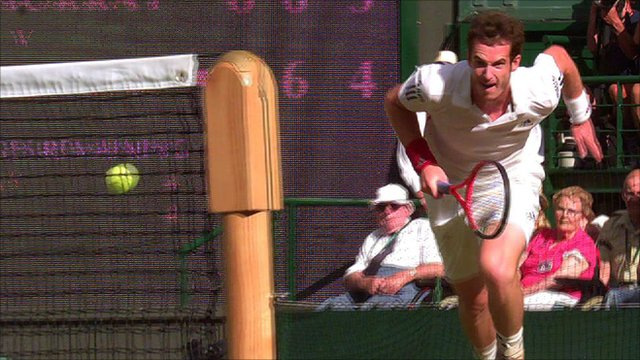 Andy Murray chases a Nadal drop shot