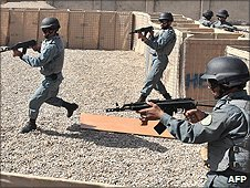 Police recruits in Helmand Police Training Centre