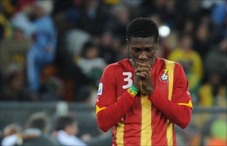 Ghanaian striker Asamoah Gyan - Johannesburg, 2 July 2010
