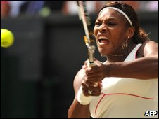 Williams in action at Wimbledon