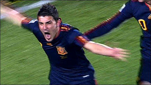 David Villa celebrates scoring for Spain