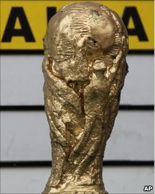 A replica of the World Cup trophy made out of cocaine