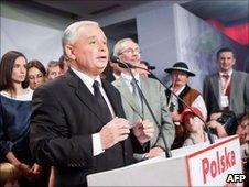 Jaroslaw Kaczynski watches results come in