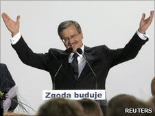 Bronislaw Komorowski at his election headquarters in Warsaw - 4 July 2010