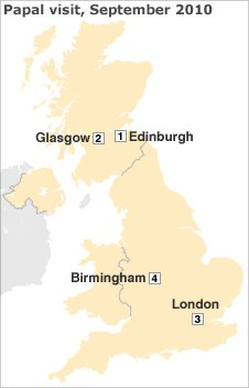 Map showing Pope's planned itinerary during UK visit