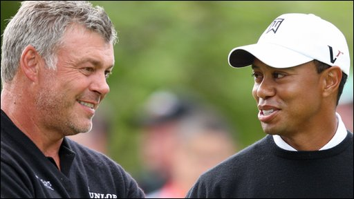 Darren Clarke and Tiger Woods
