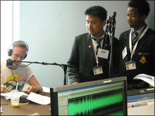 Presenter Anthony Baxter and School Reporters in the studio