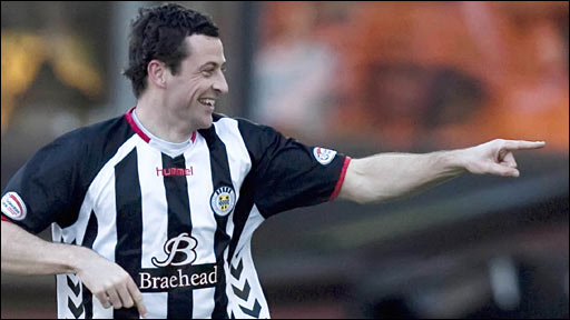 Defender Jack Ross celebrates scoring for St Mirren