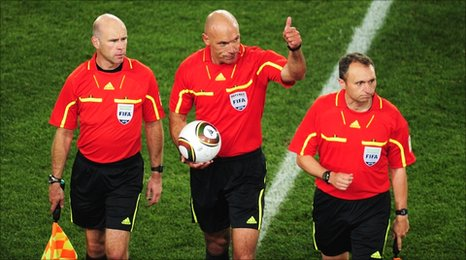 Referee Howard Webb and his assistants