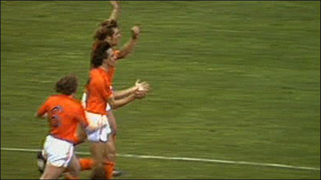 Johnny Rep and team-mates celebrate scoring for Netherlands in 1974