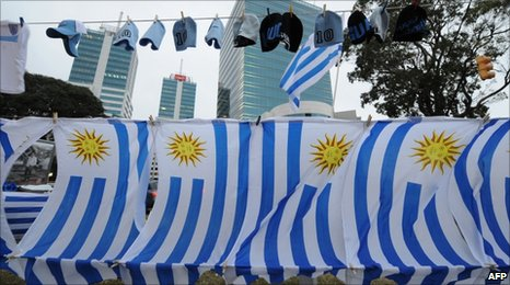Uruguayan flags flutter in the  breeze in Montevideo