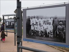 Photograph as part of an exhibition about Uruguay's win in the 1930 inaugural World Cup