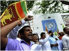 Protesters outside the UN office in Colombo on June 28, 2010