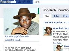 Screen grab of President Goodluck Jonathan's Facebook page.